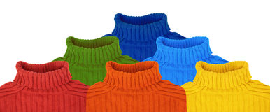 Pyramid Of Multi Color Rainbow Sweaters Collage Stock Image