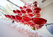 Pyramid Of Pink Champagne Royalty Free Stock Photos