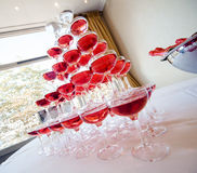 Pyramid Of Pink Champagne Royalty Free Stock Images