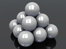 Pyramid off white balls Stock Images