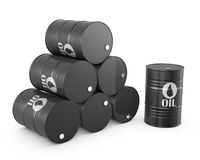 Pyramid of oil barrels and single barrel. On white background royalty free illustration