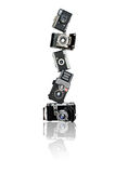 Pyramid of old cameras stock photo