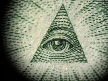 Pyramid on the one dollar bill. Detail of the pyramid on the one dollar bill royalty free stock photo