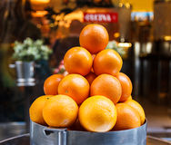 Pyramid of oranges. Beautiful and mature put on display stock photo