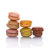 Pyramid of pastel colored french macarons Stock Photo