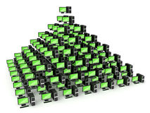 Pyramid PC network concept Royalty Free Stock Photos