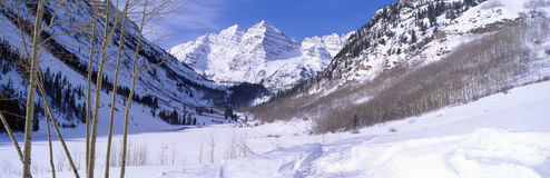Pyramid Peak and Maroon Bells Royalty Free Stock Images