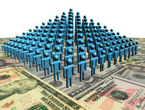 Pyramid of people on American dollars. Pyramid of abstract people on American dollars illustration Stock Photography