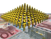 Pyramid of people on euros illustration. Pyramid of abstract people on euros illustration Royalty Free Stock Images