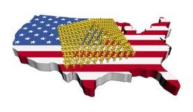 Pyramid of people on USA map flag. Pyramid of abstract people on USA map flag illustration Royalty Free Stock Photos