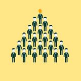 Pyramid of people working in the commando, vector. Pyramid from people working in the commando, CEO manages people vector illustration Royalty Free Stock Photography