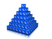 A Pyramid of percent Cubes Stock Image