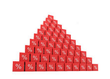 Pyramid of percent. High pyramid of growing percent Royalty Free Stock Photography