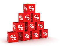 Pyramid of percentage signs Royalty Free Stock Images