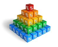 Pyramid of percents. Color pyramid chart from boxes with percent symbols Stock Photo