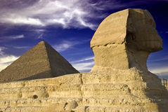 Pyramid and Pharos Stock Photo