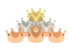 Pyramid pile of crowns isolated Royalty Free Stock Image
