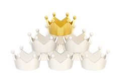 Pyramid pile of crowns isolated Stock Image