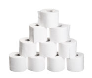 Pyramid pile rolls of toilet paper isolated on white Royalty Free Stock Photography