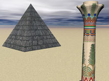 Pyramid Pillar. Surreal renderedpyramid and Egyptian pillar Royalty Free Stock Photo
