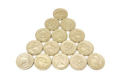 Pyramid of pound coins Stock Photography