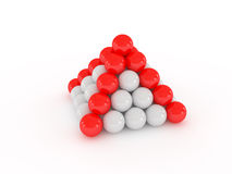 Pyramid with red ball. On white Royalty Free Stock Images