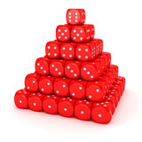 Pyramid from red dice Stock Photo