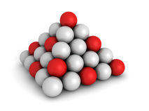 Pyramid Of Red And White Spheres. Business Concept. 3d Render Illustration Royalty Free Stock Image