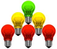 Pyramid of red, yellow and green light bulbs Royalty Free Stock Photos