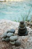 Pyramid of river stones royalty free stock photos