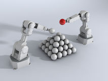 Pyramid with robots. 3d generated image with robot and balls pyramid Royalty Free Stock Images