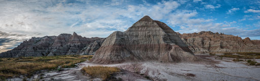 Pyramid rock in Badland National Park. Panorama of a unique rock formation that looks like a pyramid Royalty Free Stock Photo