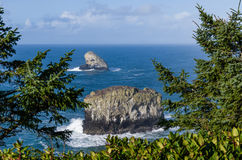 Pyramid Rock and Pillar Rock off Cape Meares Oregon Royalty Free Stock Image