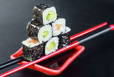 Pyramid of rolls on sticks for sush Royalty Free Stock Image