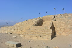 Pyramid ruins in Caral-Supe, Peru. Ruins of a pyramid in the town of the Caral Supe civilization, the oldest civilization of America, in Peru. This ruins are an stock photo