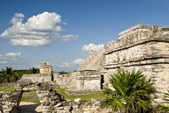 Pyramid ruins in Tulum Mexico. With scenic landscape stock photos