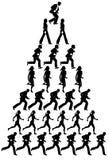 Pyramid of running people Royalty Free Stock Photos
