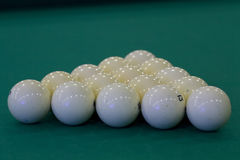 Pyramid of the Russian billiard balls. Before the first blow Stock Photography