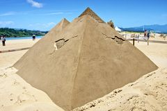 Pyramid sand sculpture Royalty Free Stock Images