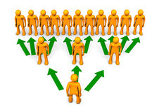 Pyramid Scheme. A rendering of pyramid scheme with orange toons and green arrows Royalty Free Stock Image