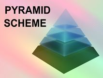 PYRAMID SCHEME concept. 3D illustration of PYRAMID SCHEME script with sliced pyramid on color gradients background Stock Image