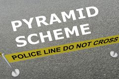 PYRAMID SCHEME concept. 3D illustration of PYRAMID SCHEME title on the ground in a police arena Royalty Free Stock Photos