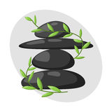 Pyramid from sea pebble relax heap stones isolated and healthy wellness black massage meditation natural tool spa. Balance therapy zen vector illustration royalty free illustration