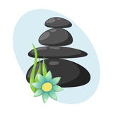 Pyramid from sea pebble relax heap stones isolated and healthy wellness black massage meditation natural tool spa. Balance therapy zen vector illustration stock illustration