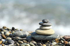 A pyramid of sea stones Royalty Free Stock Photo