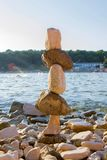 Stones Stacked on the sea royalty free stock photography