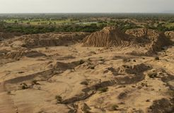 Pyramid settelment in Peru near Chiclayo. Pyramid landscape of Sican culture near Chiclayo town in  Peru north Stock Photos