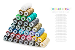 Pyramid of the Sewing multi colored thread Stock Image