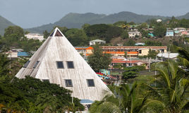 Pyramid Shaped Building in Tropics Stock Photography