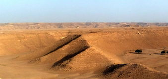 Pyramid-shaped Hills in the Desert outside Riyadh, Kingdom of Saui Arabia Royalty Free Stock Image